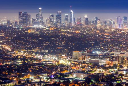 Vista aerea del tramonto del centro di Los Angeles, California, USA
