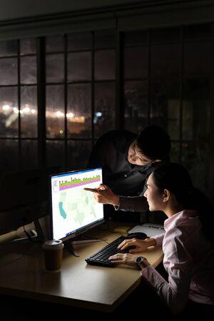 Un jeune homme d'affaires asiatique adulte discute avec un collègue du travail tard dans la nuit dans son bureau avec un ordinateur de bureau. Utilisation comme concept de travail acharné et de travail tardif.