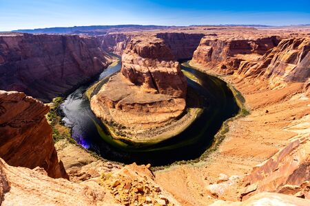 Horseshoe bend with colorado river Grand Canyon at Page Arizona United States. USA National park landmark and famous tourist spot for travel destination and adventure concept.
