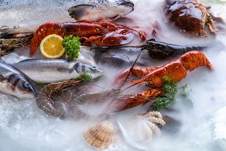 Variety of fresh luxury seafood, Lobster salmon mackerel crayfish prawn octopus mussel red snapper scallop and stone crab, on ice background with icy smoke in seafood market. Banque d'images - 155226628