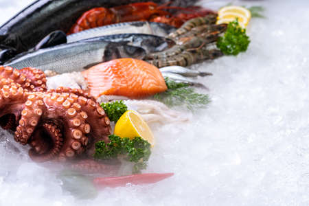 Side view of variety of fresh luxury seafood, Lobster salmon mackerel crayfish prawn octopus mussel and scallop, on ice background with icy smoke in seafood market.  Photo With Copy space. Banque d'images - 155226630