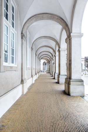 Architecture of corridor hall of Parliament building in Copenhagen Denmark. Landmark architecture and toyrism concept. Reklamní fotografie - 157611246