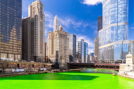 Chicago Skylines building along green dyeing river of Chicago River on St. Patrick day festival in Chicago Downtown IL USA
