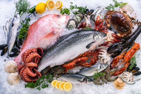Top view Variety of fresh luxury seafood, Lobster salmon mackerel crayfish prawn octopus mussel red snapper scallop and stone crab, on ice background with icy smoke in seafood market. Reklamní fotografie