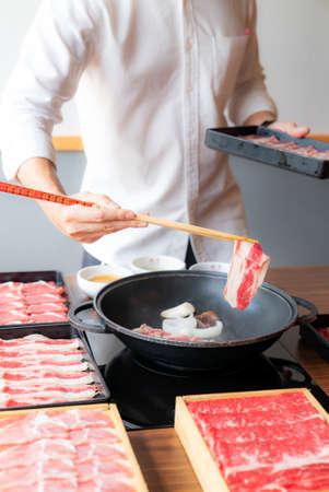 Cooking of japanese wagyu beef Sukiyaki set