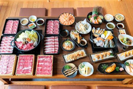 Japanese wagyu beef Sukiyaki set ready to cook with variety of japanese food cuisine
