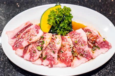 Raw premium wagyu beef meat for japanese yakiniku