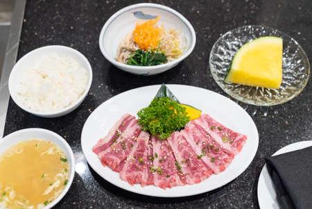 Lunch set of yakiniku japanese grilled wagyu beef cuisine