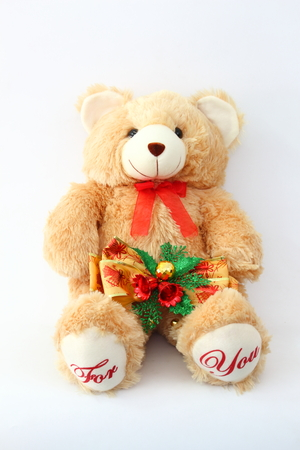 Keith Brown Bear and Christmas bells on a white background.