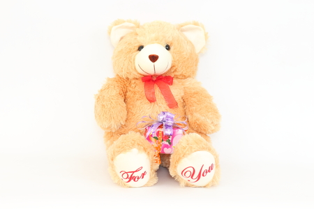 Brown teddy bear and gift boxes on a white background.