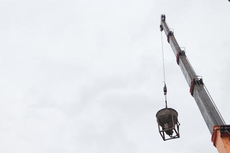 truck: Crane is working. Stock Photo