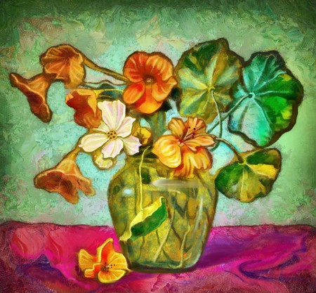 glass vase: Flowers in a glass vase