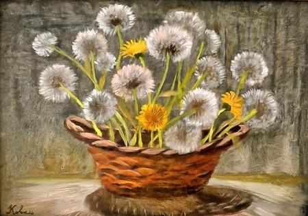 still life with dandelions Stok Fotoğraf