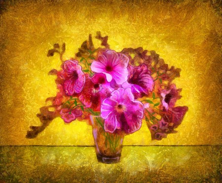 flowers in a crystal vase on a gold background