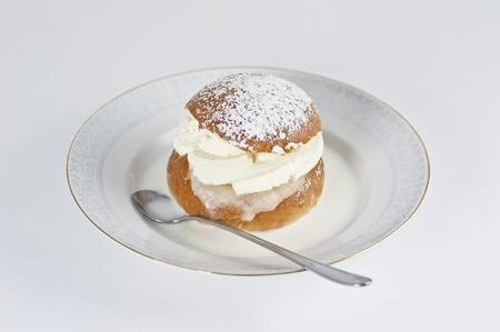 Cream bun with almond paste and hot milk