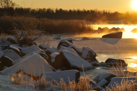 Early morning at the coast in wintertime Stock Photo