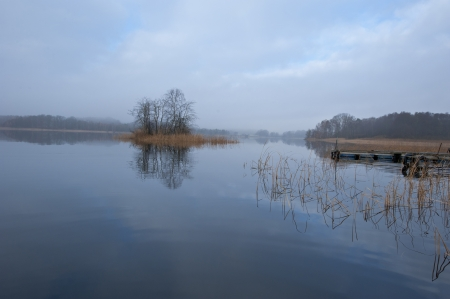 Scenic view of a tranquil november morning at lake Stock Photo