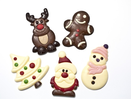 Five different Christmas figures made in chocolat Stock Photo