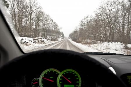 Driving a car in hazardous winter conditions