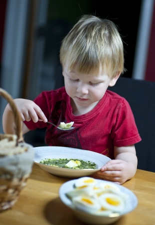 Young caucasian boy eating spinach soup with egg Stock Photo - 16714009