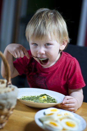 Young caucasian boy eating spinach soup with egg Stock Photo - 16714010