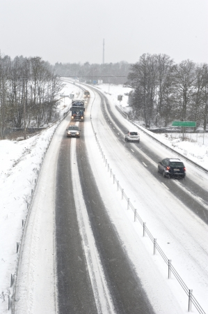 Hazardous winter conditions on a busy highway Stock Photo