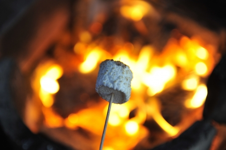 outdoor fireplace: Closeup of marshmallow being roasted over open fire