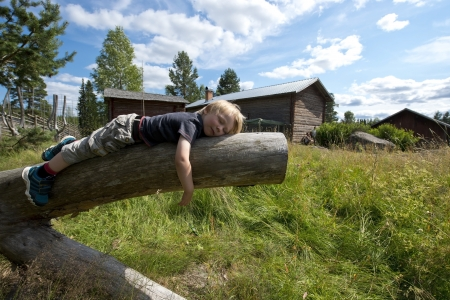 Young boy on vacation taking a nap