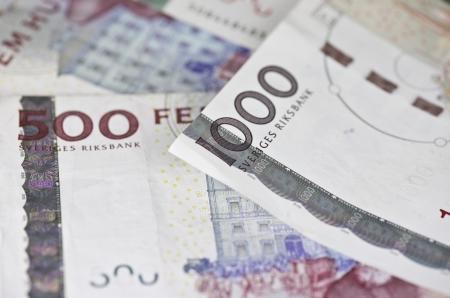 Closeup of some swedish 500 and 1000 bills