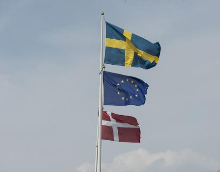Swedish, European Union and Danish flag together