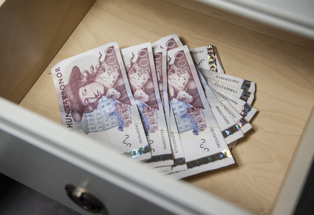 Swedish fivehundred notes in a drawer