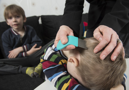 Mother checking childs head for lice with a comb