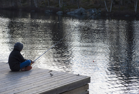 Springtimes first fishing in a lake in Sweden