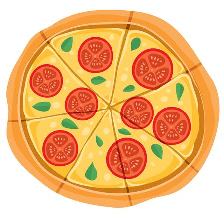 flavored pizza with cheese, basil and cheese, isolated object on a white background, vector illustration Ilustración de vector