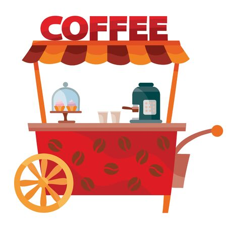 red stylized food cart, isolated object on a white background, vector illustration Vektoros illusztráció