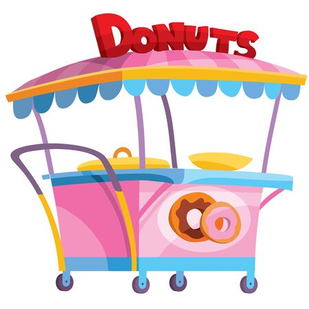 pink food cart selling donuts, isolated object on a white background, vector illustration