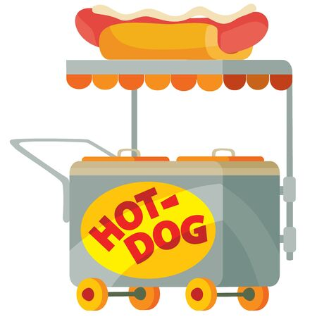 food cart selling hot dog, isolated object on a white background, vector illustration