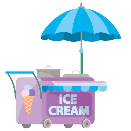 street cart selling ice cream, isolated object on a white background, vector illustration