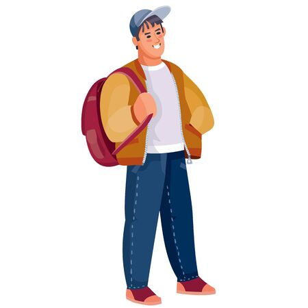 teenager with a backpack on a white background isolated object, vector illustration, determination, confidence, maximalism, youth, student,