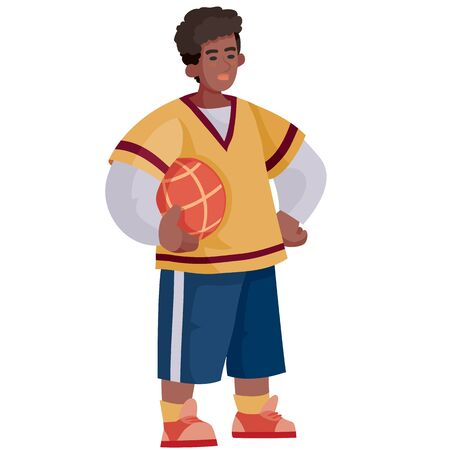 a teenager with a ball in his hands is going to play volleyball and ibasketball, a full-length isolated object on a white background, Illustration