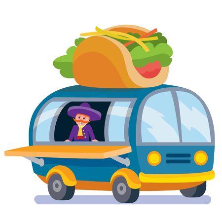 Mobile food truck. Car with Italian food. Vector illustration. Cartoon style. Векторная Иллюстрация