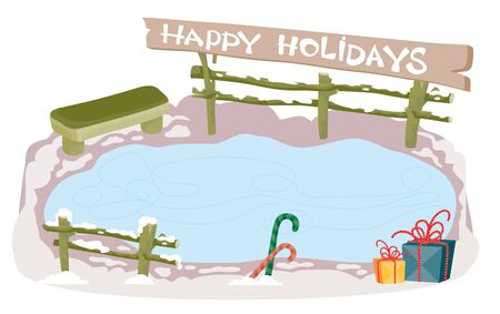 Winter ice rink with a bench. It is a background for a happy new year or Christmas card,
