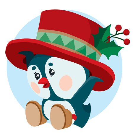 little penguin puts on his head a big hat for the winter holiday New Year and Christmas, 일러스트