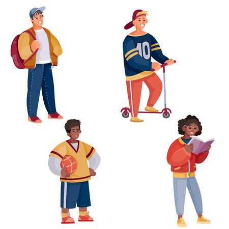 teenagers stand on a white background isolated object with a backpack, scooter, book, ball. Athlete, student, student,