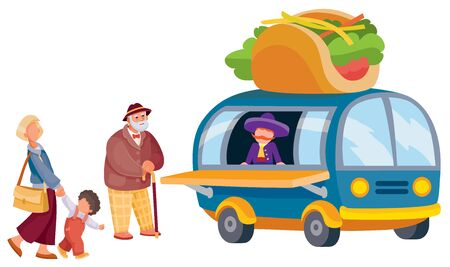 line of two people and a child stands in front of a fast food truck that sells tacos, separate layers,