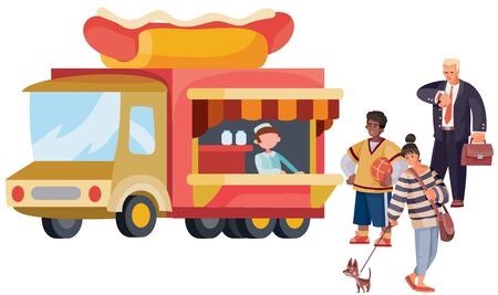 line of two people and a girl with a dog stand in front of a fast food truck that sells a hot dog, separate layers,