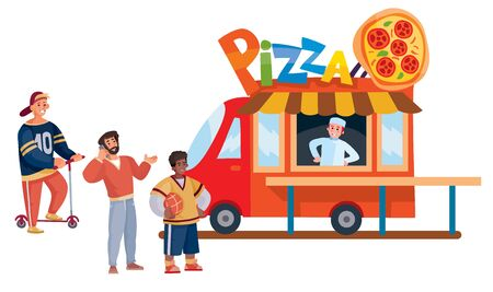 line of three people stands in front of a fast food truck that sells pizza, separate layers, Ilustração
