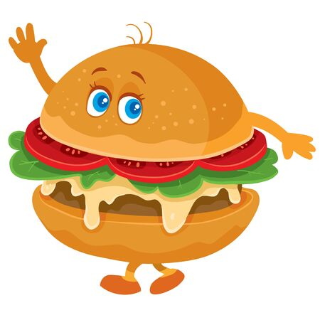 Divertido personaje de hamburguesa con ojos, brazos y piernas ondeando, objeto aislado sobre fondo blanco. Ilustración de vector