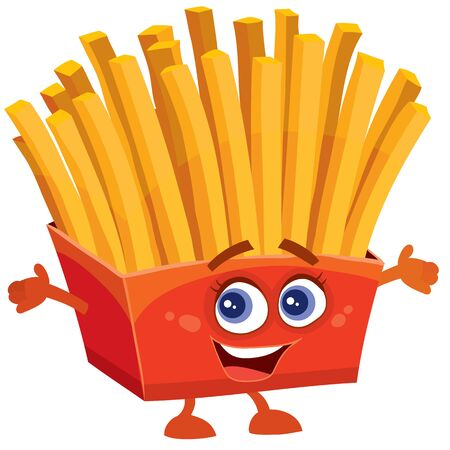 merry french fries character in a red box, isolated object on a white background, Foto de archivo - 135073629