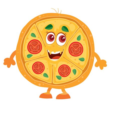 funny pizza character on a white background, Stock Illustratie